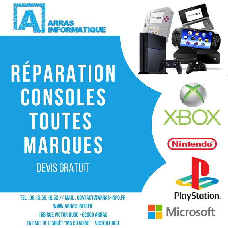 Réparation console de jeux toutes marques et toutes pannes par Arras Informatique