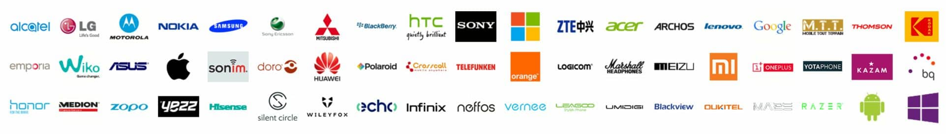Liste des marques de téléphones qui sont prises en compte en compte par Arras Informatique et Mobile pour les réparations des tablettes et téléphones portables