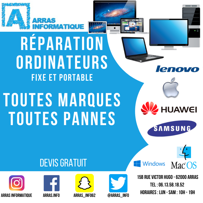reparation ordinateurs portables pas cher sur arras, beurains , sante catherine, saint nicolas
