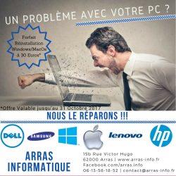 Forfait Réinstallation windows de votre ordinateur par Arras Informatique 62000